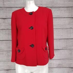 Kasper 3 button Blazer Suit Jacket Red sz 6